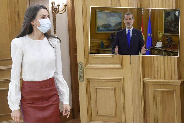 La reine Letizia et, en vignette, le roi Felipe VI d'Espagne, à Madrid le 12 novembre 2020