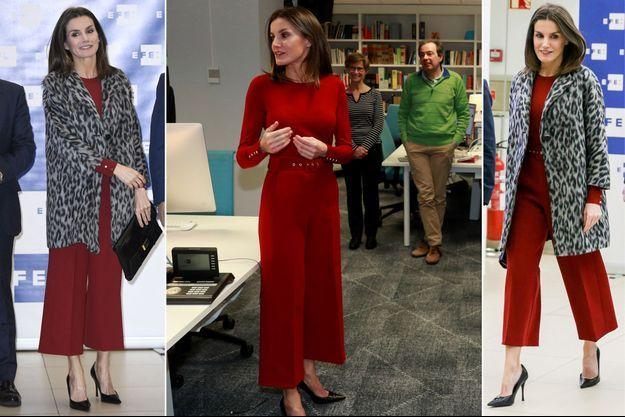Le look de la reine Letizia d'Espagne à Madrid, le 29 janvier 2019