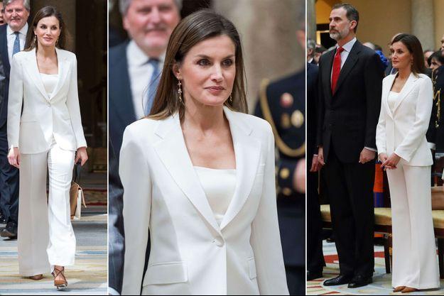 Le look de la reine Letizia d'Espagne à Madrid, le 3 mai 2018