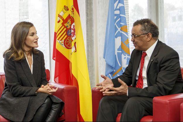 La reine Letizia d'Espagne et Tedros Adhanom Ghebreyesus, directeur général de l'OMS, à Genève le 30 octobre 2018