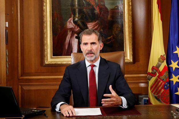 Le roi Felipe VI lors de l'allocution télévisée du 3 octobre.