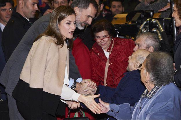 La reine Letizia et le roi Felipe VI d'Espagne à Don Benito, le 25 janvier 2017