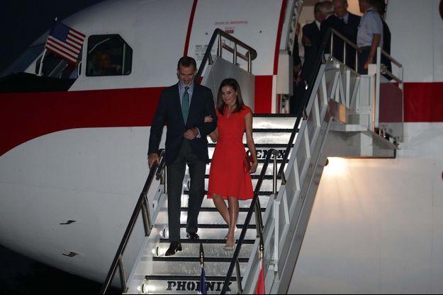 La reine Letizia et le roi Felipe VI d'Espagne arrivent à La Nouvelle-Orléans, le 14 juin 2018