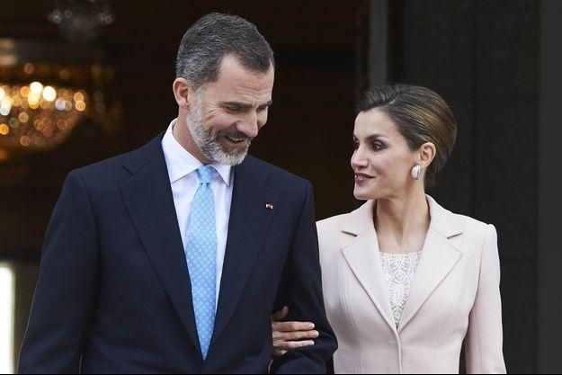 La reine Letizia et le roi Felipe VI d'Espagne à Madrid, le 22 février 2017