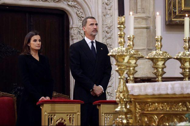 La reine Letizia et le roi Felipe VI d'Espagne à Madrid, le 4 avril 2019