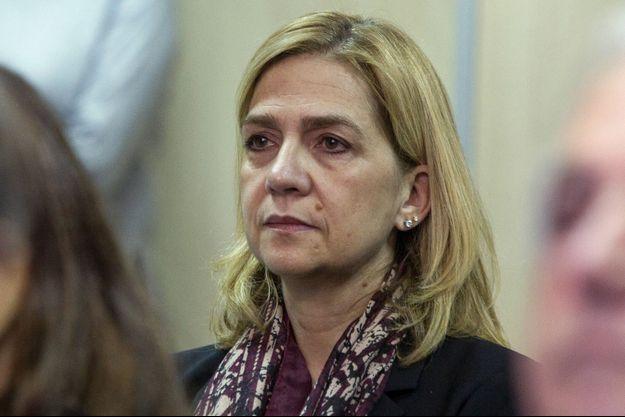 L'infante Cristina d'Espagne lors de la première audience de son procès à Palma de Majorque, le 11 janvier 2016