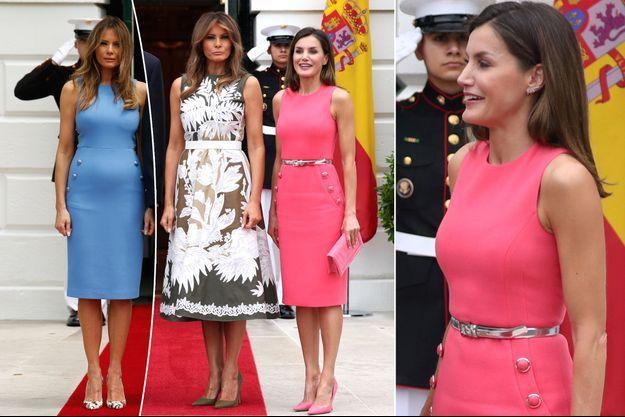 La reine Letizia d'Espagne et Melania Trump à Washington le 19 juin 2018. A gauche, Melania Trump le 19 juin 2017