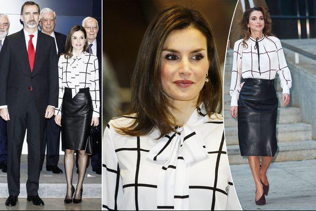 La reine Letizia d'Espagne à Madrid, le 13 février 2017. A droite: la reine Rania de Jordanie à Madrid, le 19 novembre 2015