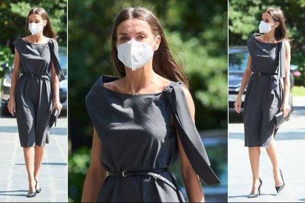 """La robe """"solidaire"""" de la reine Letizia d'Espagne à Madrid, le 2 juin 2021"""