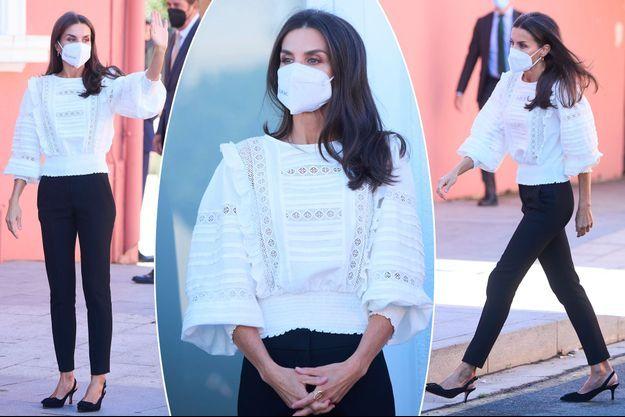 La reine Letizia d'Espagne à Haro, le 30 septembre 2021