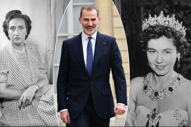 Le roi Felipe VI d'Espagne, le 11 mars 2020. A gauche, sa grand-mère paternelle, María de las Mercedes de Borbón y Orleans, vers 1947. A droite, sa grand-mère maternelle, Frederika de Hanovre en 1953, alors reine consort des Hellènes