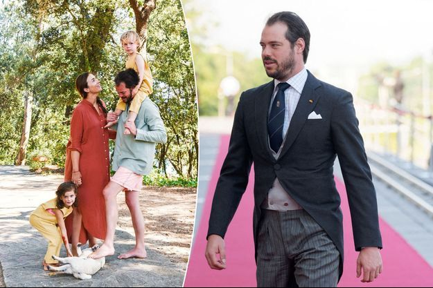 Le prince Félix de Luxembourg à Luxembourg, le 23 juin 2019. A gauche, avec sa femme la princesse Claire et leurs enfants