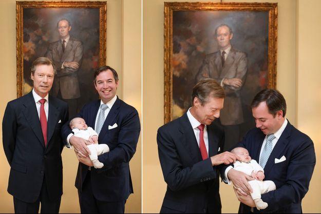 Le grand-duc Henri de Luxembourg avec les princes Guillaume et Charles sous le portrait de l'ex-grand-duc Jean. Photos diffusées le 22 juin 2020