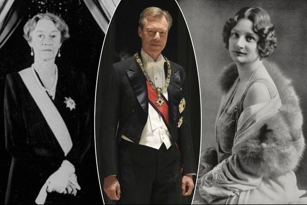 Le grand-duc Henri de Luxembourg, le 22 octobre 2019. A gauche, sa grand-mère paternelle, la grande-duchesse Charlotte de Luxembourg, en 1957. A droite, sa grand-mère maternelle, la reine des Belges Astrid