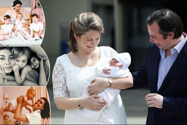 La grande-duchesse Maria-Teresa, les princesses Claire et Stéphanie de Luxembourg avec leurs enfants