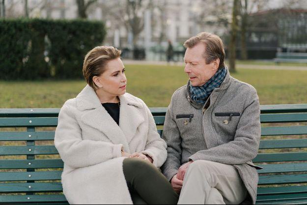 La grande-duchesse Maria Teresa avec son époux le grand-duc Henri de Luxembourg, le 26 janvier 2020