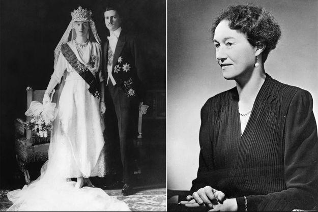 La grande-duchesse Charlotte de Luxembourg lors de son mariage, le 6 novembre 1919. A droite, en 1942