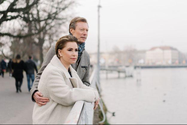 La grande-duchesse Maria-Teresa et le grand-duc Henri de Luxembourg à Génève, le 26 janvier 2020