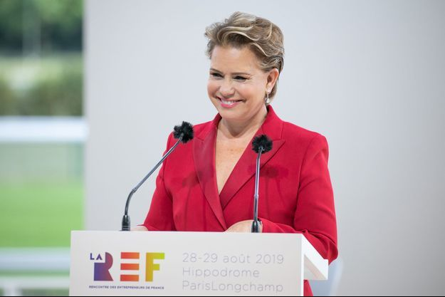 La grande-duchesse Maria Teresa de Luxembourg à l'université d'été du Medef à Paris, le 29 août 2019