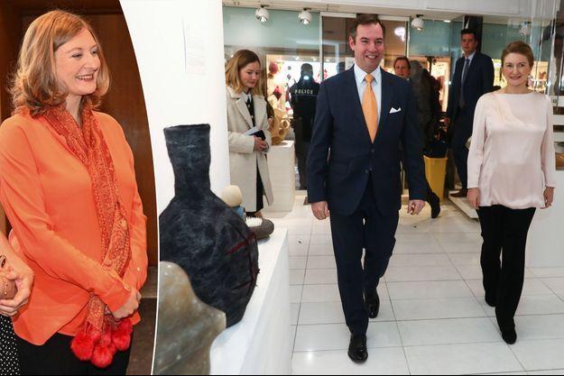 La princesse Stéphanie de Luxembourg, enceinte, avec le prince Guillaume, à Luxembourg, le 6 décembre 2019. A gauche, le 12 décembre 2019