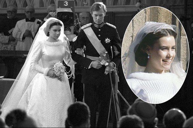 La robe de mariée et le diadème de Maria Teresa Mestre, le jour de son mariage à Luxembourg, le 14 février 1981