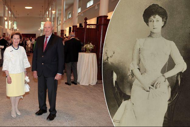 La reine Sonja de Norvège inaugure sa galerie d'art à Oslo le 4 juillet 2017, avec le roi Harald V - A droite : la reine Maud de Norvège