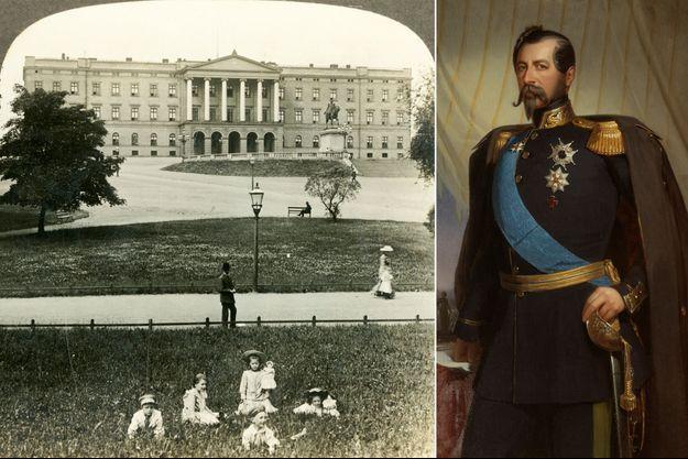 Le Palais royal d'Oslo vers 1905 - Portrait d'Oscar I, roi de Suède et de Norvège en 1858 (Nationalmuseum Stockholm)