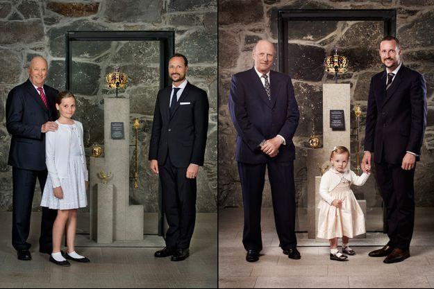 Le roi Harald V de Norvège, le prince Haakon et la princesse Ingrid Alexandra, le 23 juin 2016 et, à droite, le 22 juin 2006
