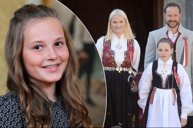 La princesse Ingrid Alexandra de Norvège en décembre 2016 et avec ses parents le prince Haakon et la princesse Mette-Marit de Norvège le 17 mai 2016