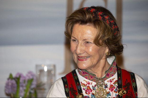 La reine Sonja de Norvège le 4 mars 2020 en Jordanie