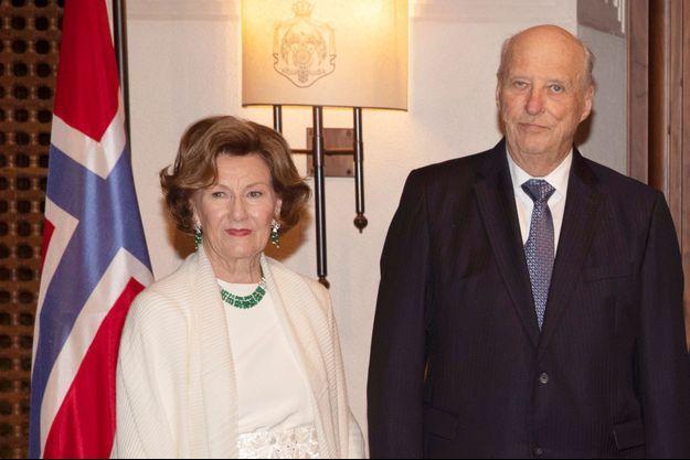 La reine Sonja et le roi Harald V de Norvège à Amman, le 2 mars 2020