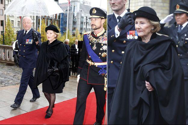 La reine Sonja de Norvège, avec le prince Haakon, à Oslo le 2 octobre 2018