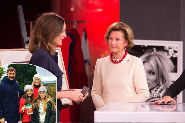 La reine Sonja de Norvège au Téléthon à Oslo, le 23 octobre 2016. En vignette, les princesses Mette-Marit et Ingrid Alexandra et le prince Haakon, le même jour.
