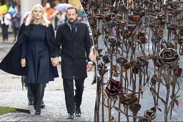 La princesse Mette-Marit et le prince Haakon au dévoilement du mémorial Jernrosene à Oslo, le 28 septembre 2019 Splash News/ABACA