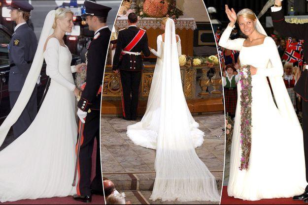Mette-Marit Tjessem Høiby, le jour de son mariage avec le prince Haakon de Norvège, le 25 août 2001