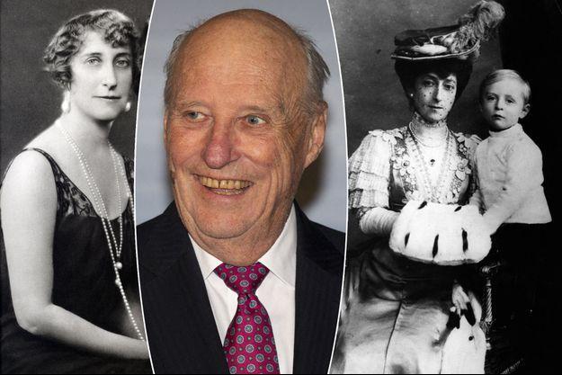 Le roi Harald V de Norvège, le 4 mars 2020. A gauche, sa grand-mère maternelle, la princesse Ingeborg de Suède en 1930. A droite, sa grand-mère paternelle la reine Maud de Norvège en 1906 avec son fils le futur roi Olav V
