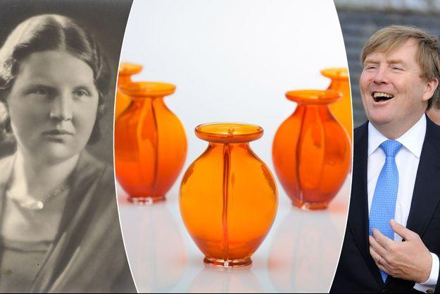 Juliana et Willem-Alexander des Pays-Bas en 1935 et 2017. Au centre : les vases orange des 50 ans du roi Willem-Alexander