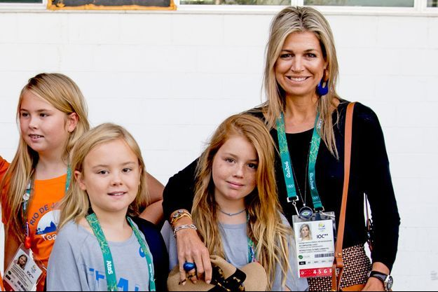 La reine Maxima des Pays-Bas et ses filles les princesses Catharina-Amalia, Ariane et Alexia aux JO de Rio de Janeiro, le 17 août 2016