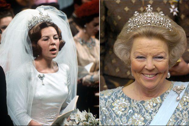Beatrix des Pays-Bas coiffée du diadème Wurtemberg à son mariage le 10 mars 1966, et à celui du prince héritier Frederik de Danemark et de Mary Donaldson le 14 mai 2004
