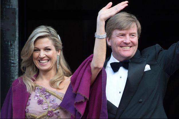 La reine Maxima des Pays-Bas avec le roi Willem-Alexander des Pays-Bas à La Haye, le 28 avril 2017