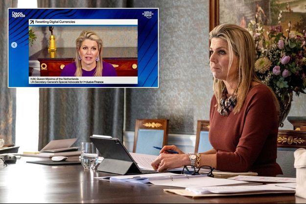 La reine Maxima des Pays-Bas à La Haye, le 21 janvier 2021 . En vignette, son intervention en visioconférence au Forum économique virtuel de Davos, le 25 janvier 2021