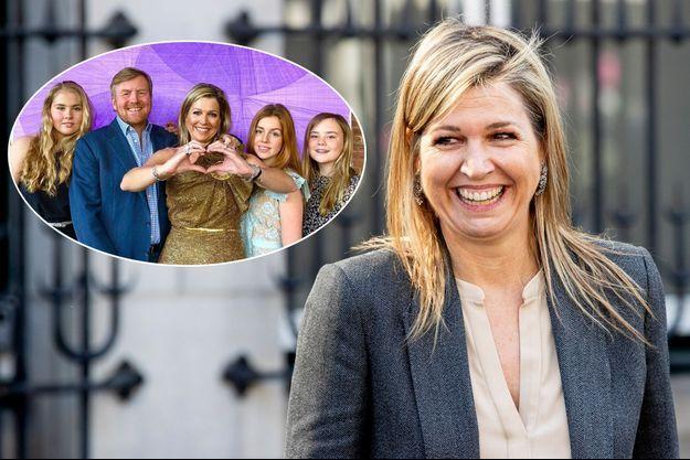 La reine Maxima des Pays-Bas, le 8 avril 2020. En vignette avec le roi Willem-Alexander des Pays-Bas et leurs filles, le 16 mai 2020
