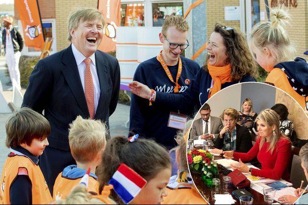 Le roi Willem-Alexander des Pays-Bas à Lemmer, le 11 avril 2019. En vignette, la reine Maxima à Washington le 11 ou le 12 avril 2019