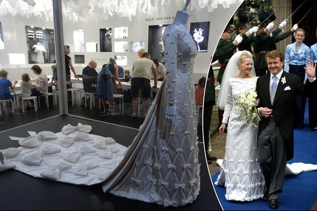 La robe de mariée exposée à Melbourne le 30 octobre 2016 et portée par la princesse Mabel des Pays-Bas le 24 avril 2004
