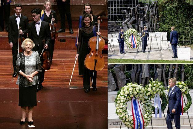 L'ex-reine Beatrix des Pays-Bas à Amsterdam, le 16 août 2020. Le roi Willem-Alexander des Pays-Bas à La Haye, le 15 août 2020