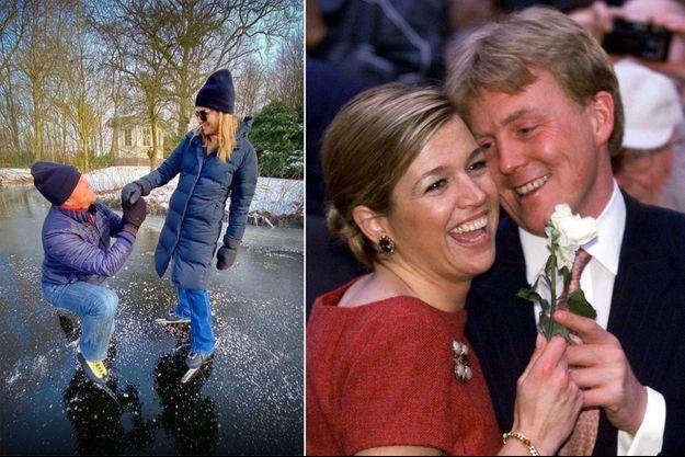 Le roi Willem-Alexander et la reine Maxima des Pays, le 14 février 2021. Le prince héritier Willem-Alexander des Pays-Bas et Maxima Zorreguieta, le 30 mars 2001, jour de l'annonce de leurs fiançailles