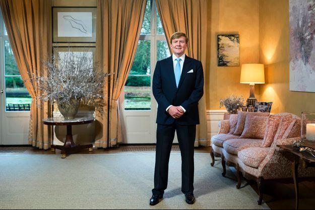 Le roi Willem-Alexander des Pays-Bas à Wassenaar lors de l'enregistrement de ses voeux de Noël, fin décembre 2015
