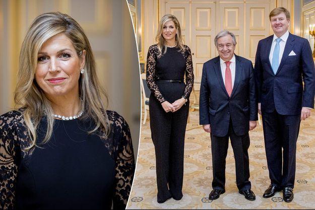 La reine Maxima et le roi Willem-Alexander des Pays-Bas avec Antonio Guterres à La Haye, le 21 décembre 2017