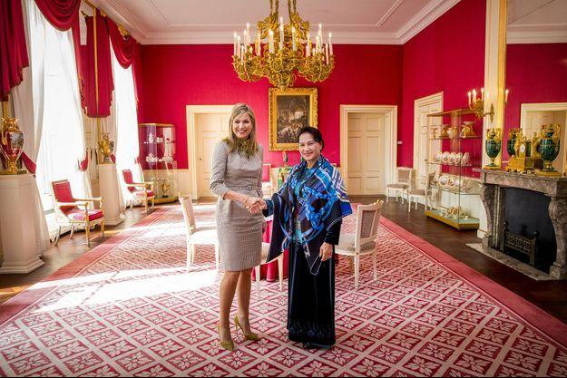 La reine Maxima des Pays-Bas avec Nguyên Thi Kim Ngân à La Haye, le 26 mars 2018