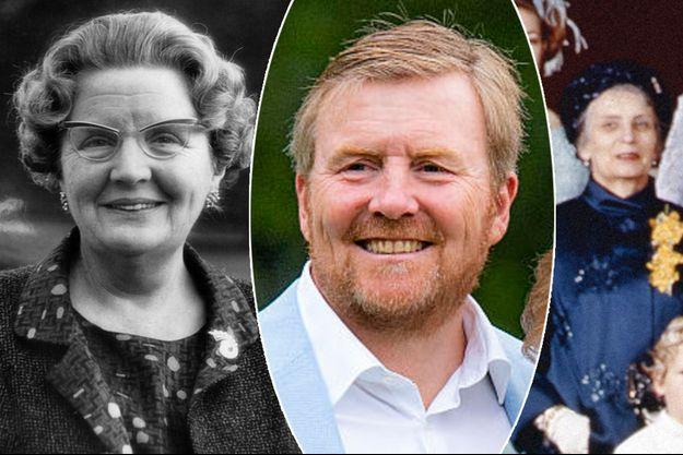 Le roi Willem-Alexander des Pays-Bas, le 17 juillet 2020. A gauche, sa grand-mère maternelle, la reine Juliana des Pays-Bas, le 26 avril 1967. A droite, sa grand-mère paternelle, la baronne Gosta von Amsberg le 10 mars 1966